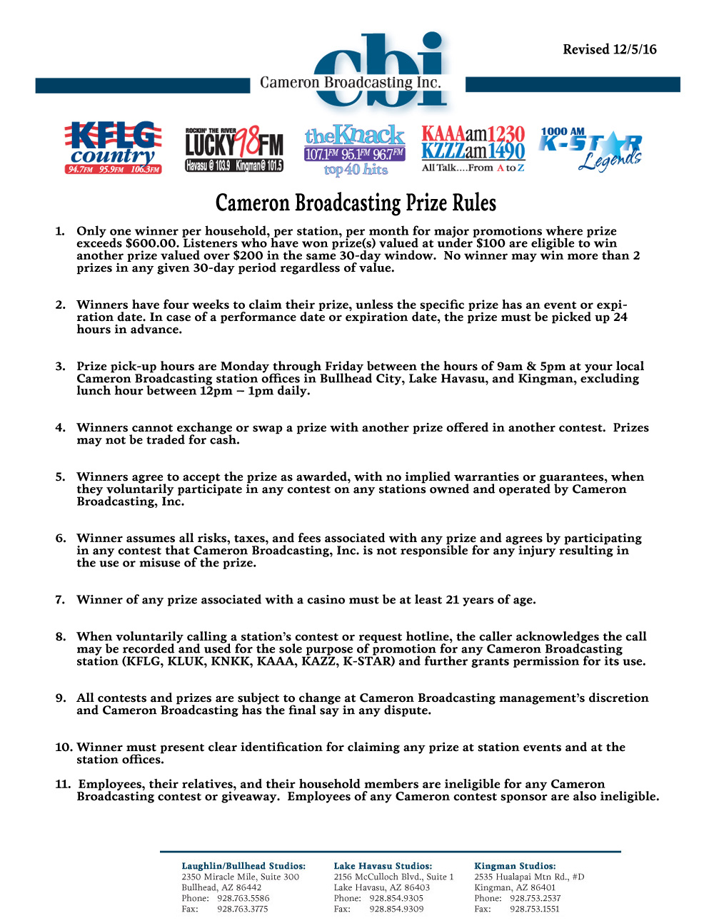 Cameron Broadcasting Generic Contest Rules